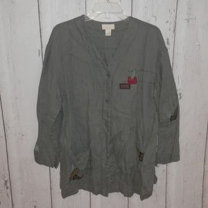 J Jill Petite Large 100% Linen Button Up Jacket